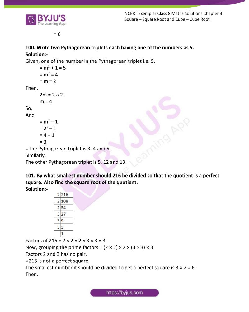 NCERT Exemplar Class 8 Maths Solutions Chapter 3 Square Square Root and Cube Cube Root 26