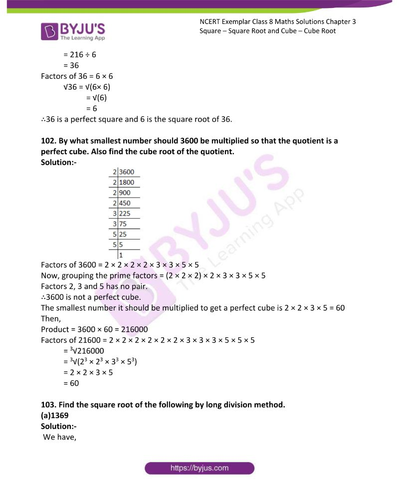 NCERT Exemplar Class 8 Maths Solutions Chapter 3 Square Square Root and Cube Cube Root 27