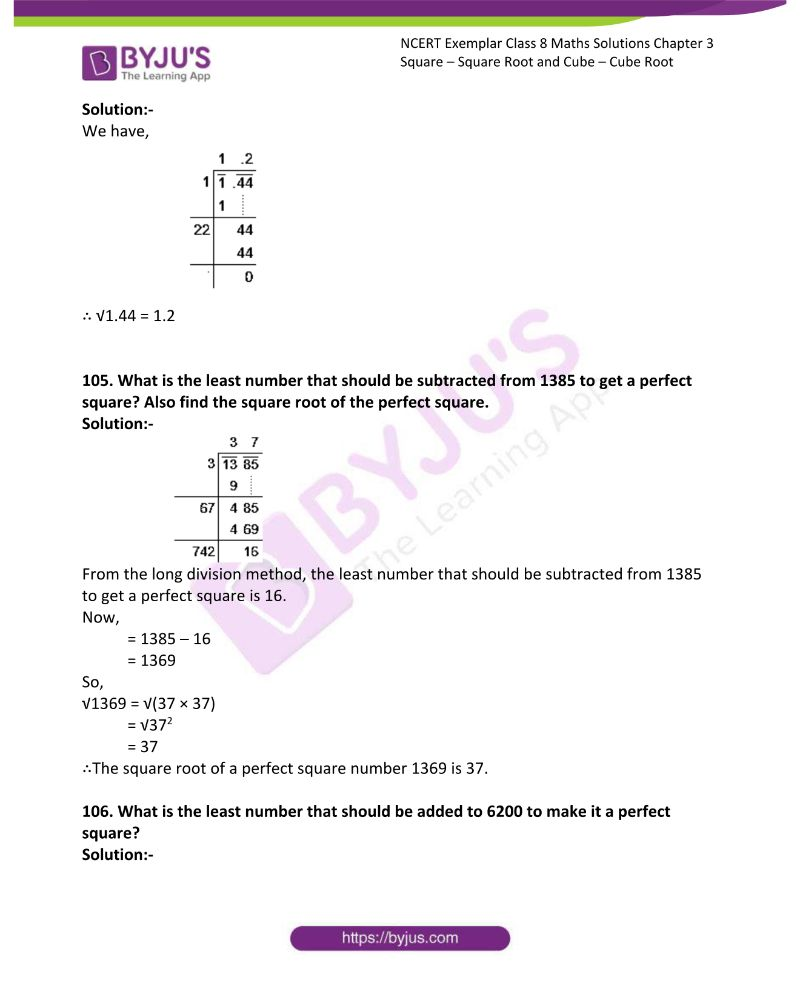 NCERT Exemplar Class 8 Maths Solutions Chapter 3 Square Square Root and Cube Cube Root 29