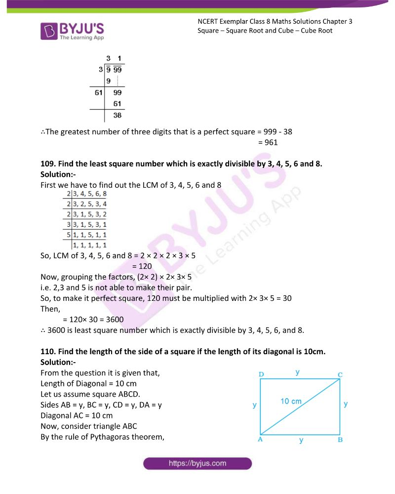 NCERT Exemplar Class 8 Maths Solutions Chapter 3 Square Square Root and Cube Cube Root 31
