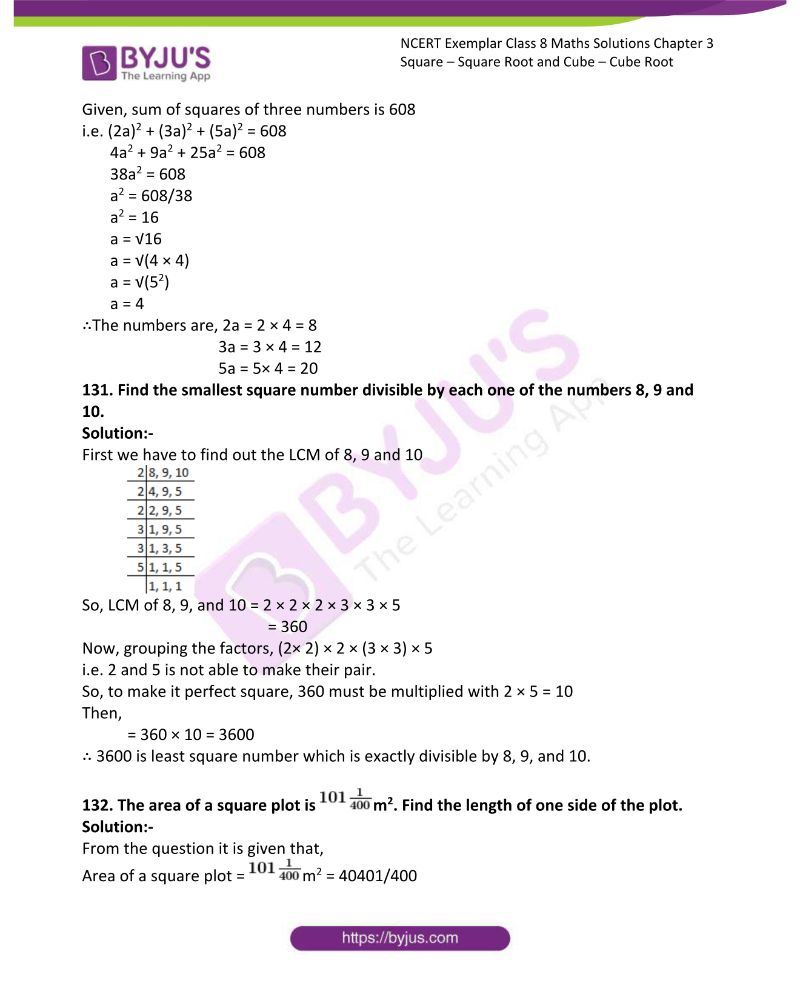 NCERT Exemplar Class 8 Maths Solutions Chapter 3 Square Square Root and Cube Cube Root 42