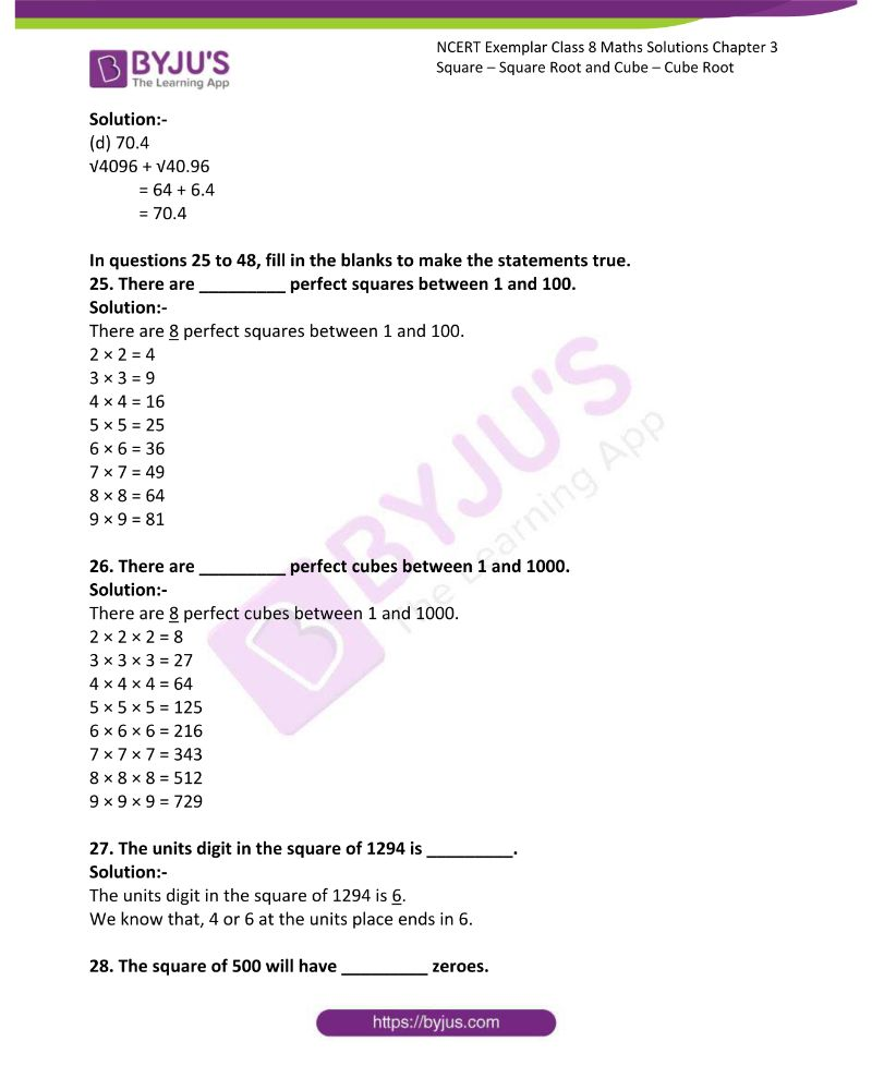 NCERT Exemplar Class 8 Maths Solutions Chapter 3 Square Square Root and Cube Cube Root 5