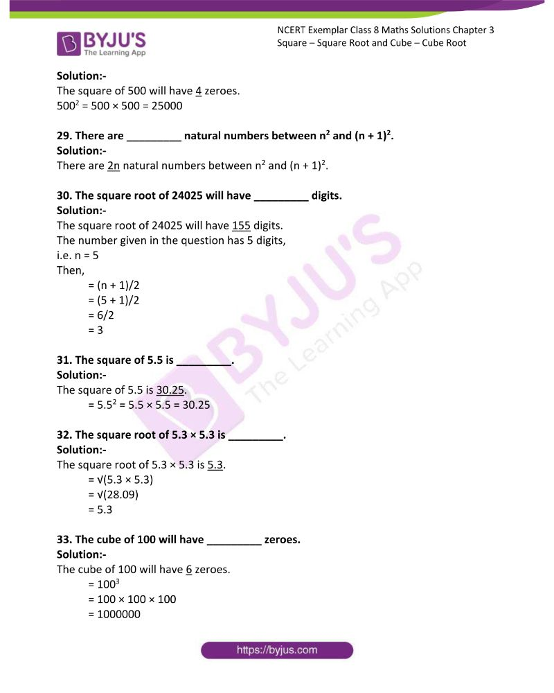 NCERT Exemplar Class 8 Maths Solutions Chapter 3 Square Square Root and Cube Cube Root 6