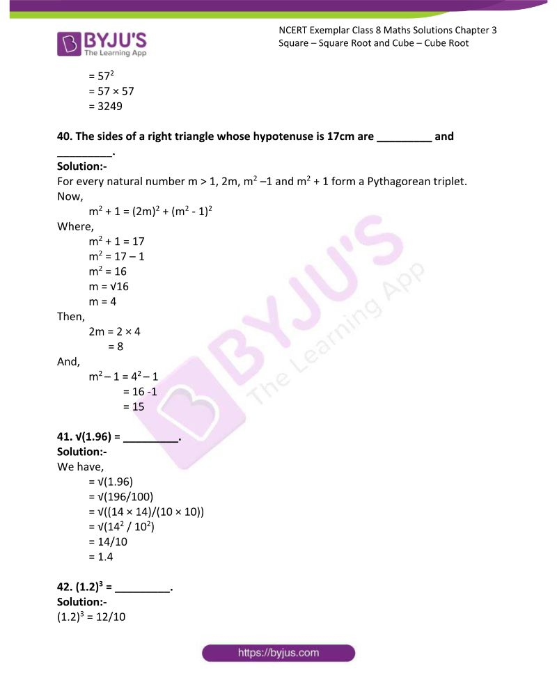 NCERT Exemplar Class 8 Maths Solutions Chapter 3 Square Square Root and Cube Cube Root 8