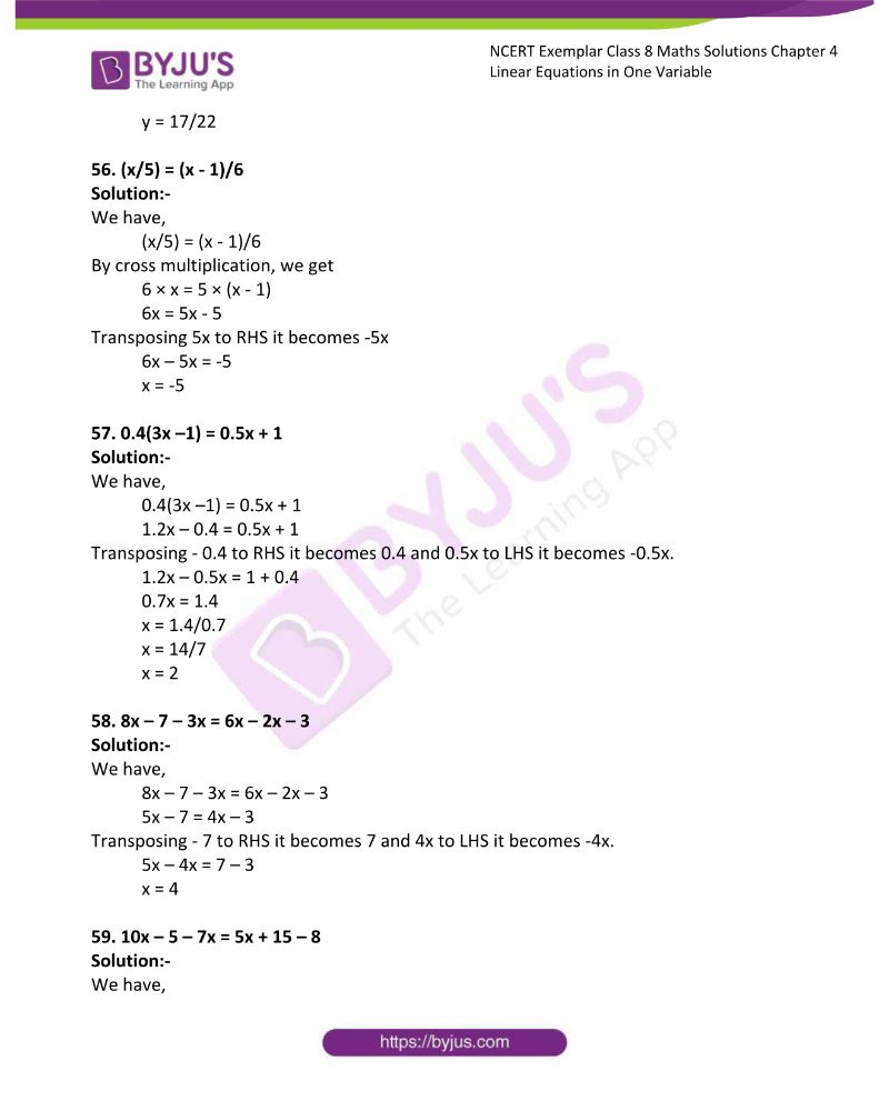 NCERT Exemplar Class 8 Maths Solutions Chapter 4 Linear Equations in One Variable 16