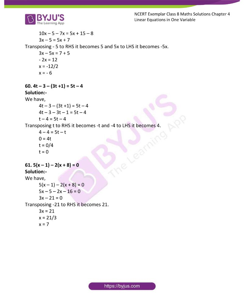 NCERT Exemplar Class 8 Maths Solutions Chapter 4 Linear Equations in One Variable 17