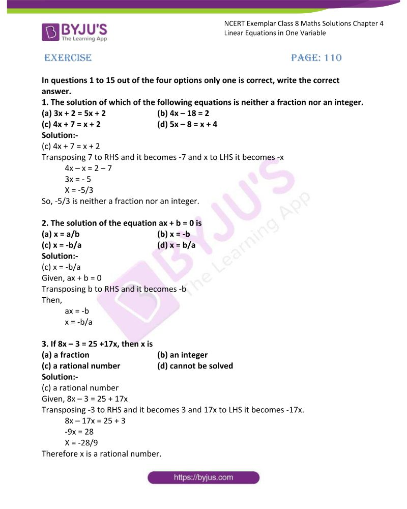 NCERT Exemplar Class 8 Maths Solutions Chapter 4 Linear Equations in One Variable
