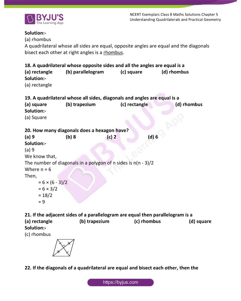 NCERT Exemplar Class 8 Maths Solutions Chapter 5 Understanding Quadrilaterals and Practical Geometry 5