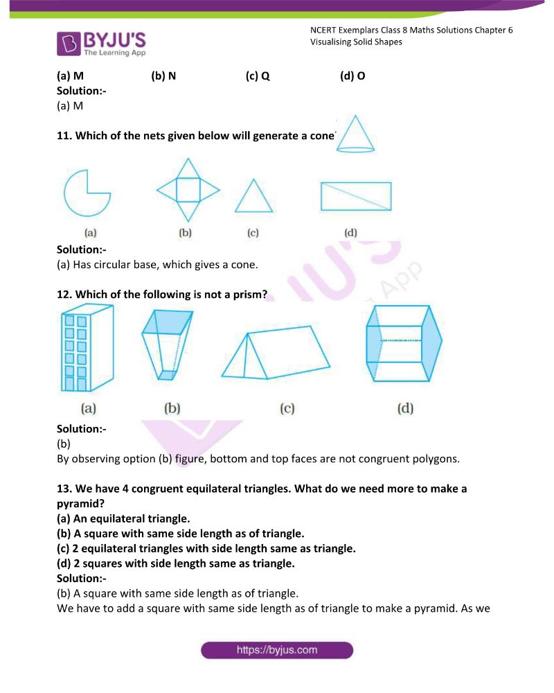 NCERT Exemplar Class 8 Maths Solutions Chapter 6 Visualising Solid Shapes 3