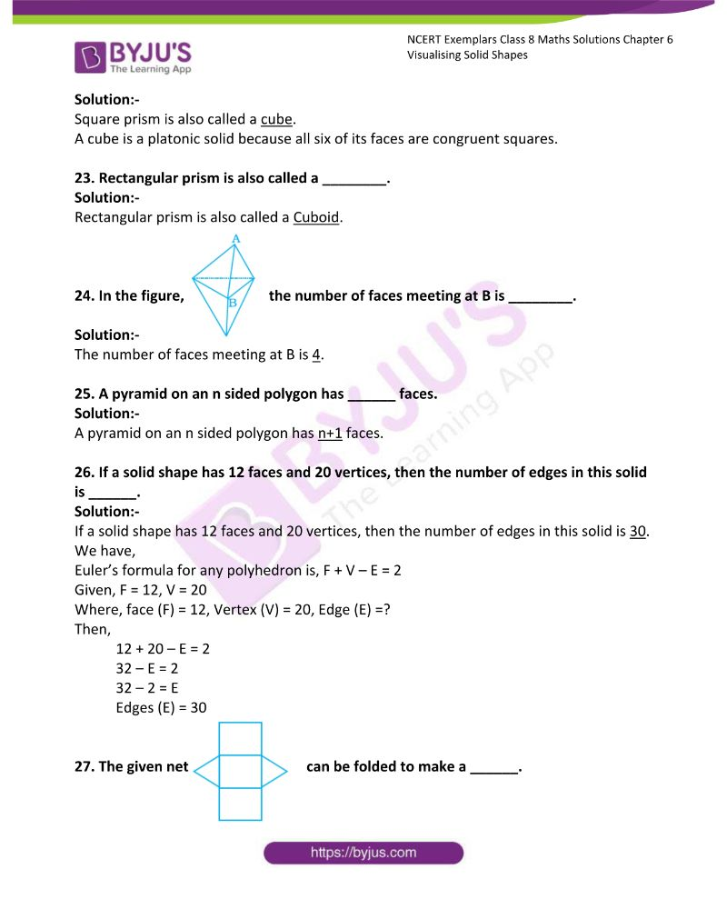 NCERT Exemplar Class 8 Maths Solutions Chapter 6 Visualising Solid Shapes 7