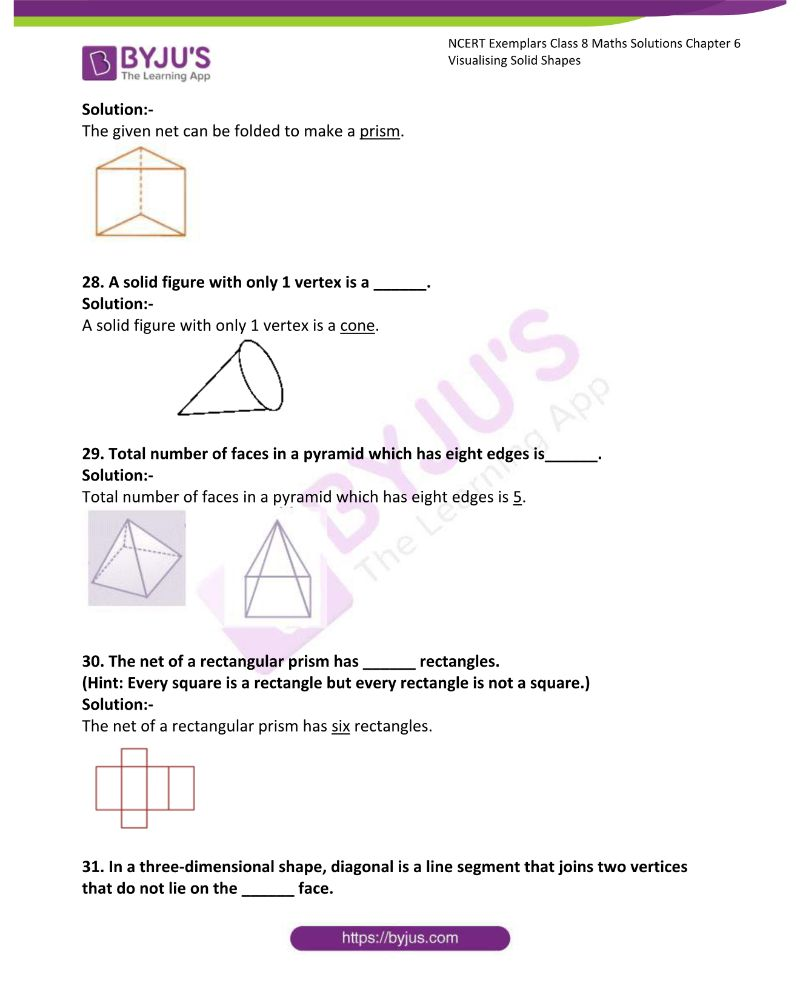 NCERT Exemplar Class 8 Maths Solutions Chapter 6 Visualising Solid Shapes 8