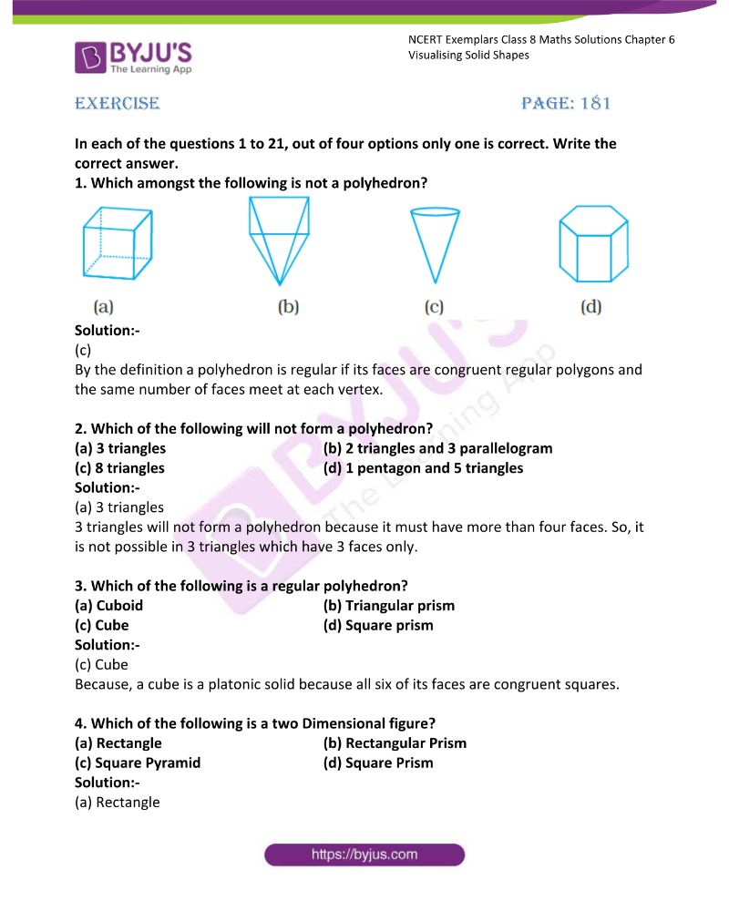 NCERT Exemplar Class 8 Maths Solutions Chapter 6 Visualising Solid Shapes