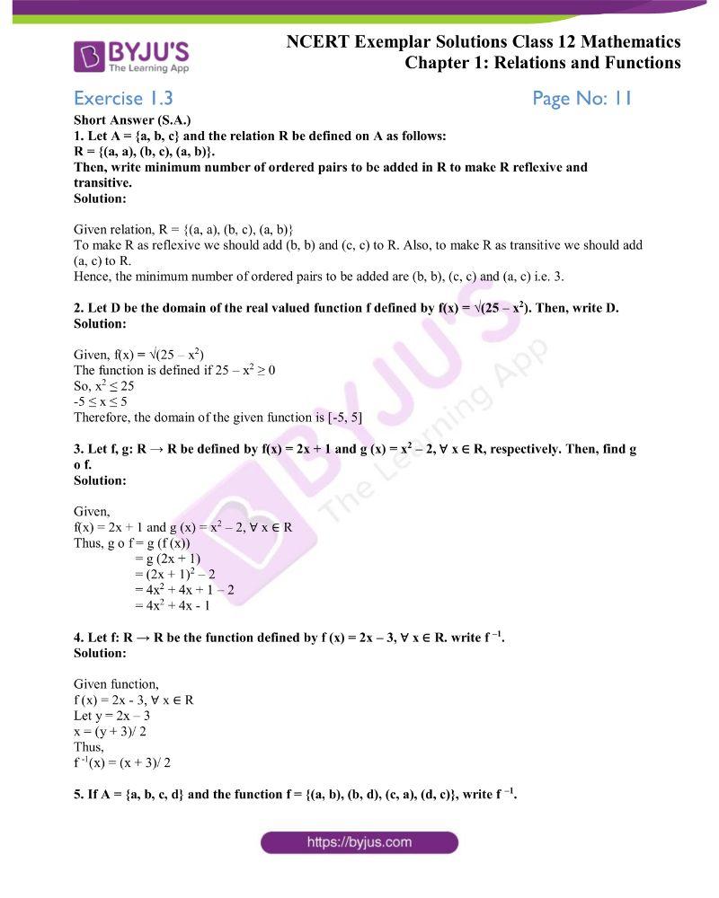 NCERT Exemplar Solutions Class 12 Mathematics Chapter 1