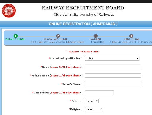 RRB Apply Online - RRB Application Form Personal Details