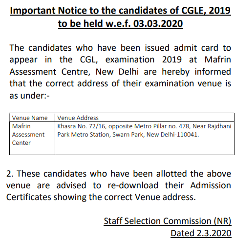 SSC CGL Admit Card Exam Center -Important Notice