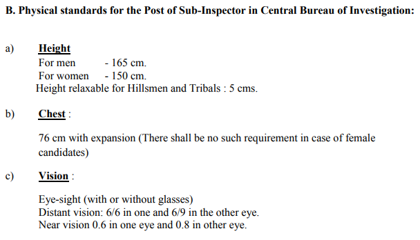 SSC CGL Eligibility Physical Standards for CBI