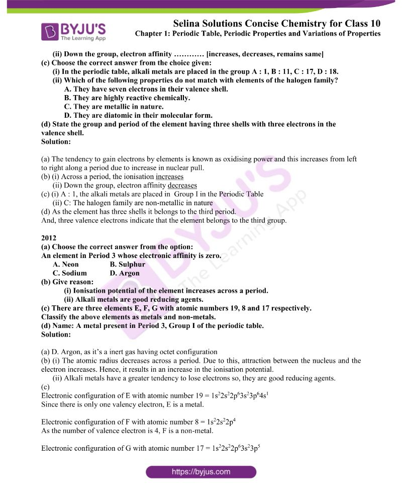 Selina Solutions Concise Chemistry for Class 10 Chapter 1 6