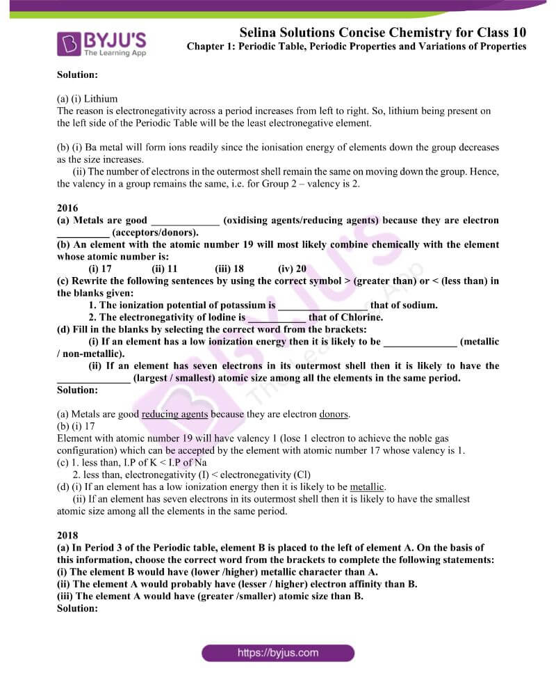 Selina Solutions Concise Chemistry for Class 10 Chapter 1 9