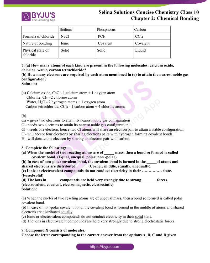 Selina Solutions Concise Chemistry for Class 10 Chapter 2 2