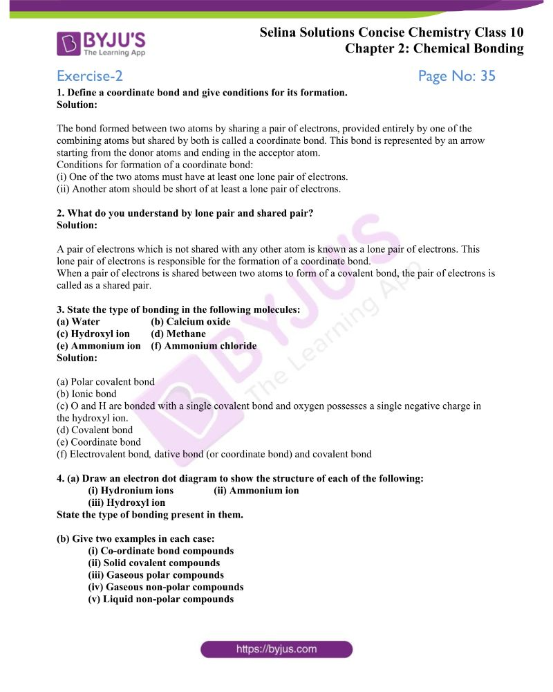 Selina Solutions Concise Chemistry for Class 10 Chapter 2
