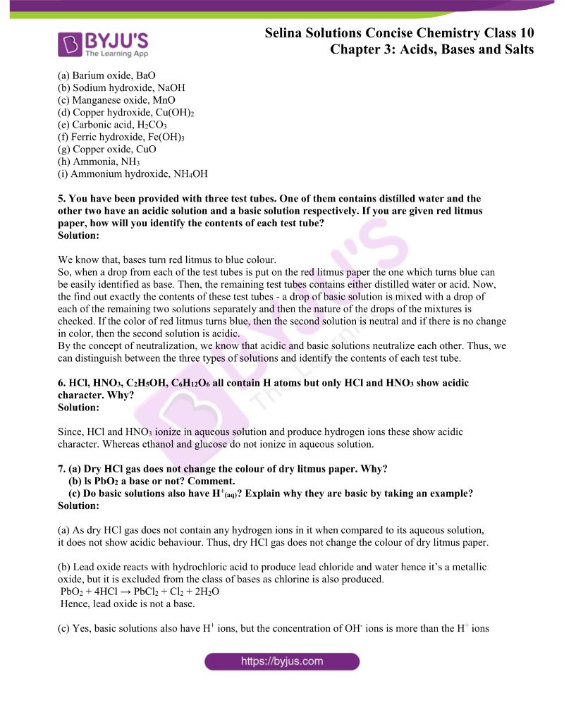 Selina Solutions Concise Chemistry for Class 10 Chapter 3 1