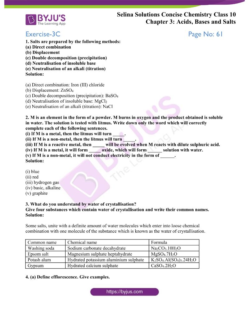 Selina Solutions Concise Chemistry for Class 10 Chapter 3 14