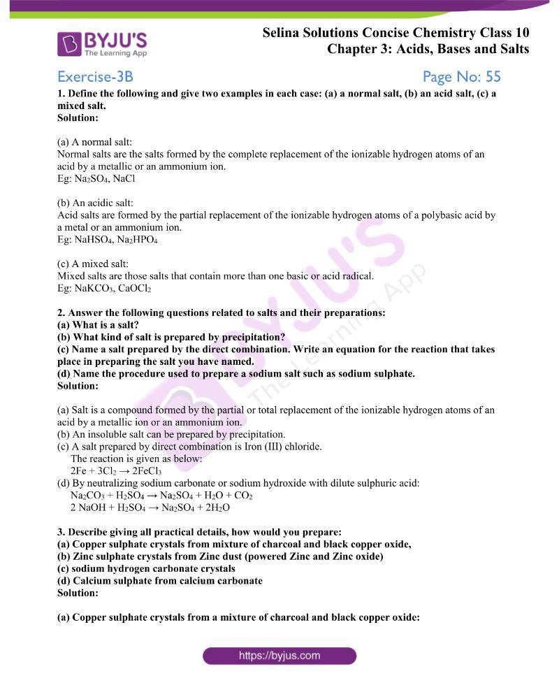 Selina Solutions Concise Chemistry for Class 10 Chapter 3 6