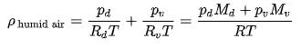 Density of Humid Air Equation