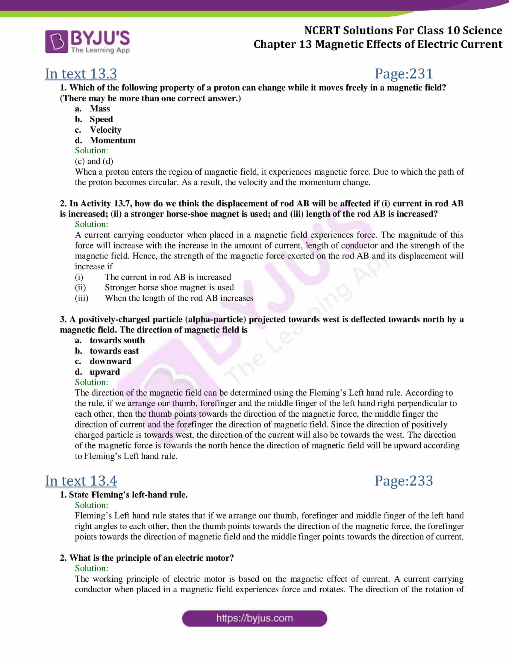 Ncert Solutions Class 10 Science Chapter 13 Magnetic