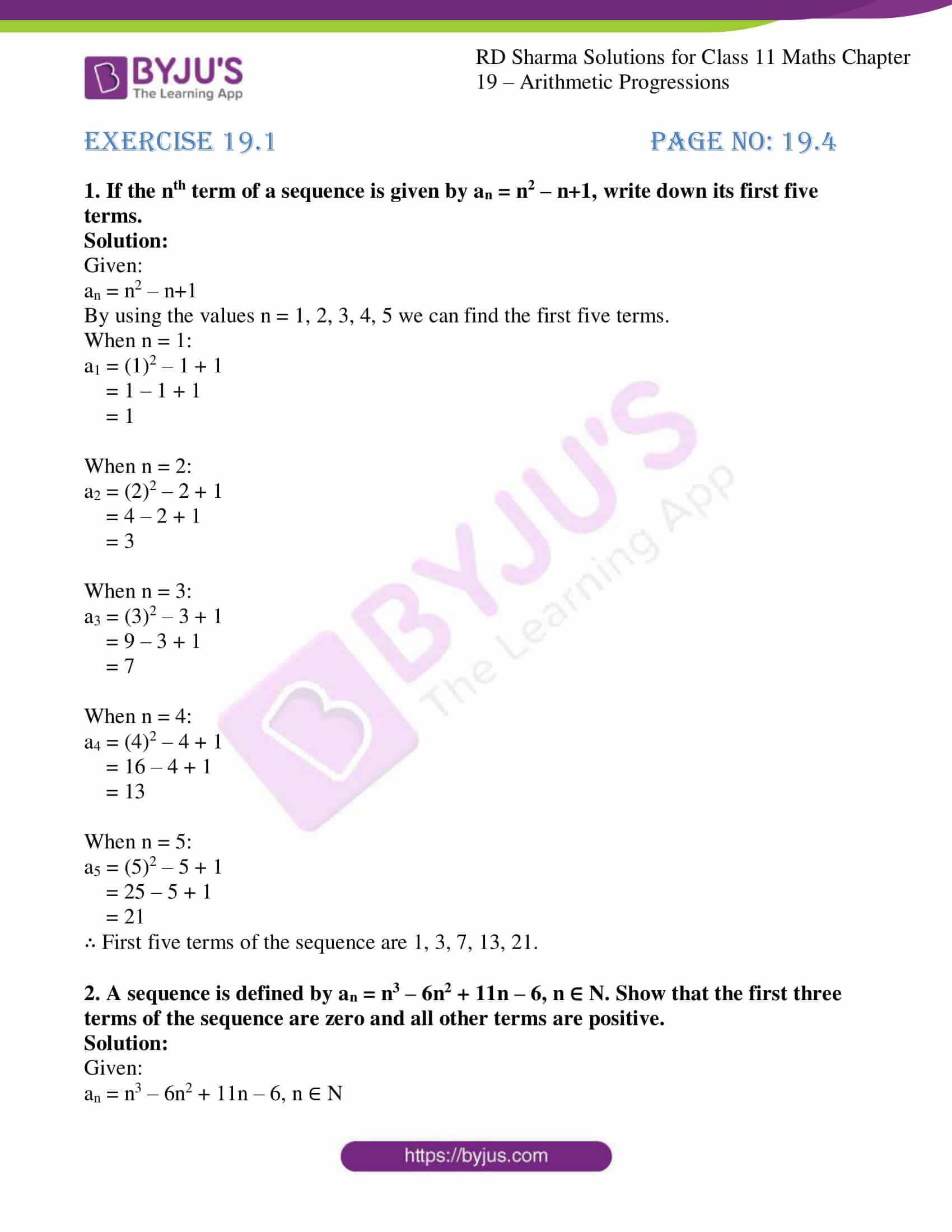 rd sharma class 11 maths ch 19 ex 1 1