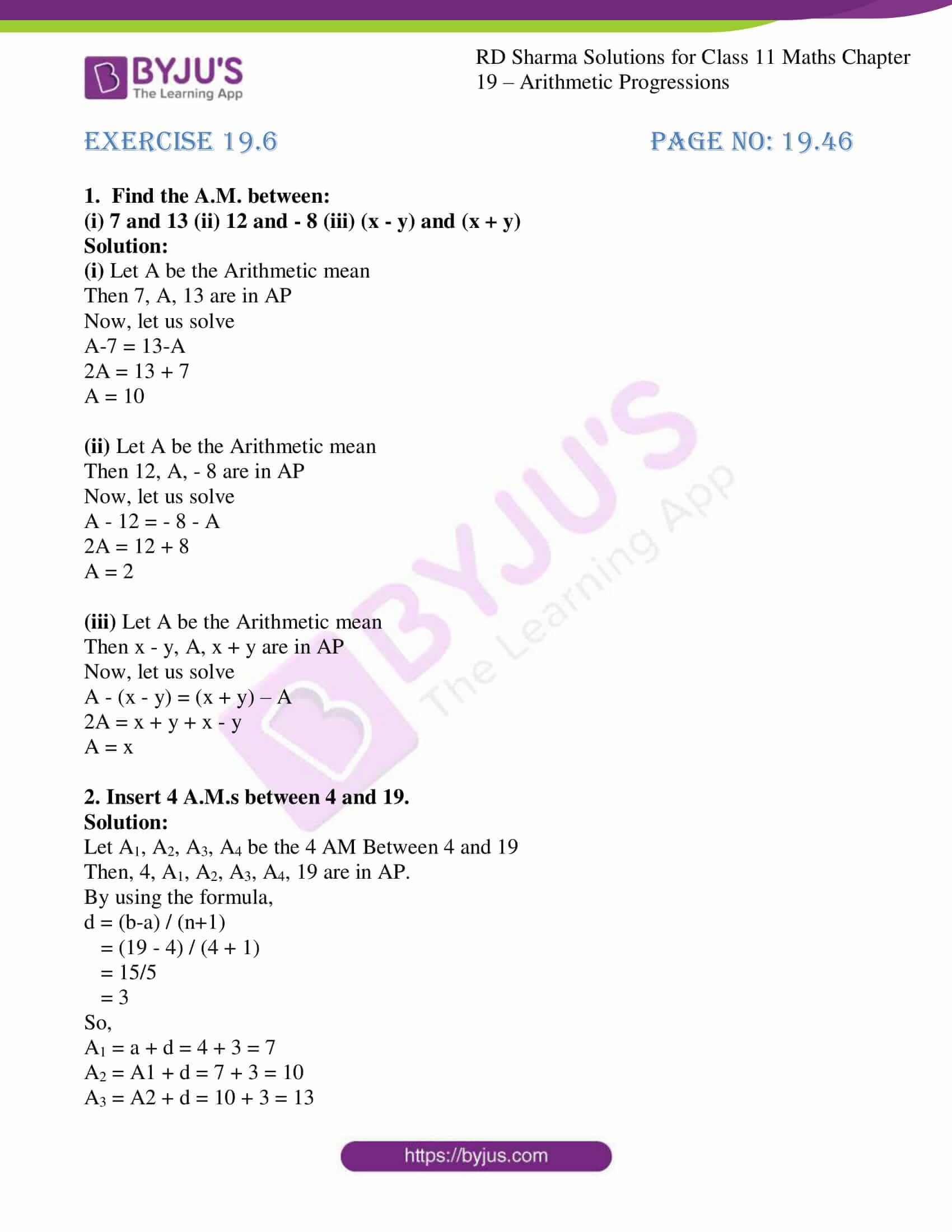 rd sharma class 11 maths ch 19 ex 6 1