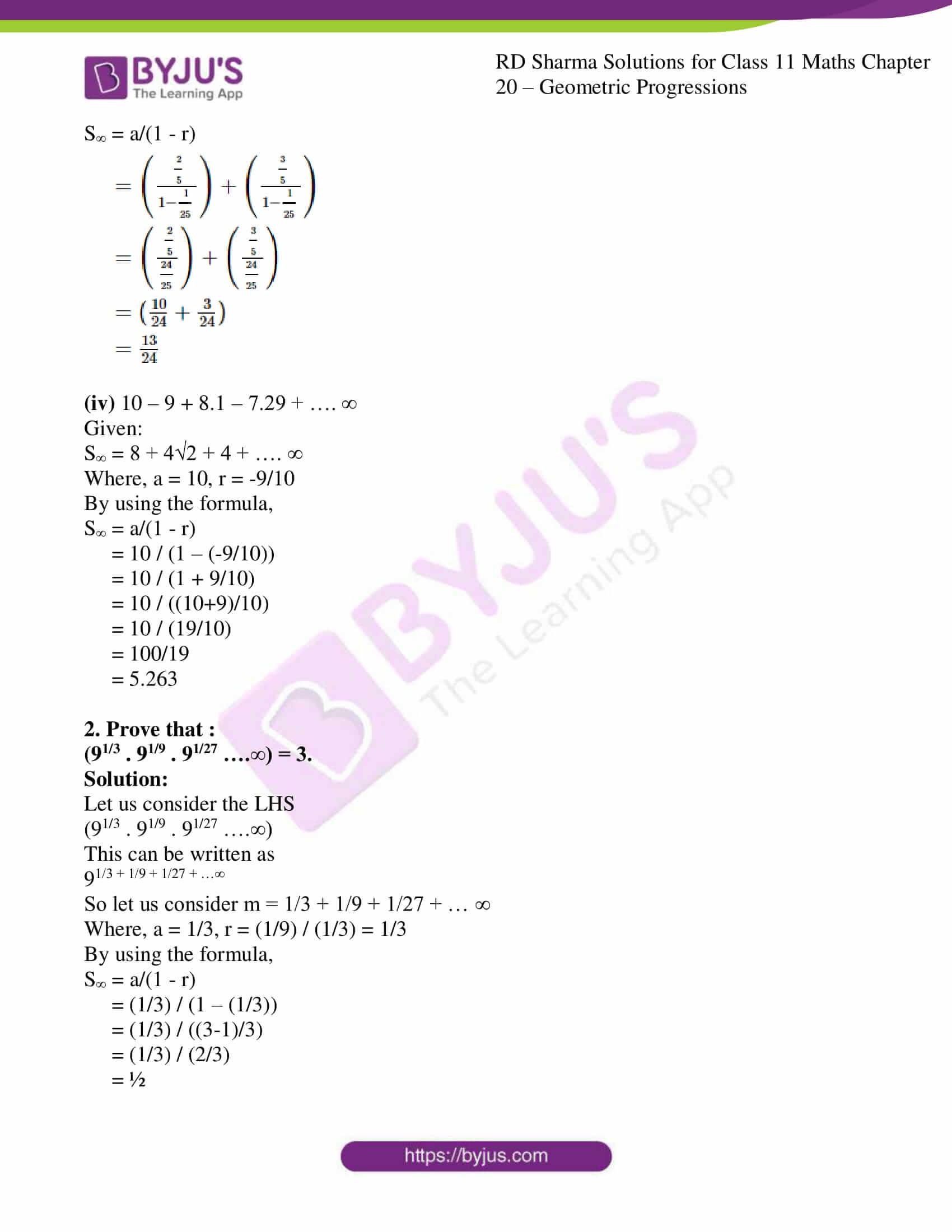 rd sharma class 11 maths ch 20 geometric progressions ex 4 2