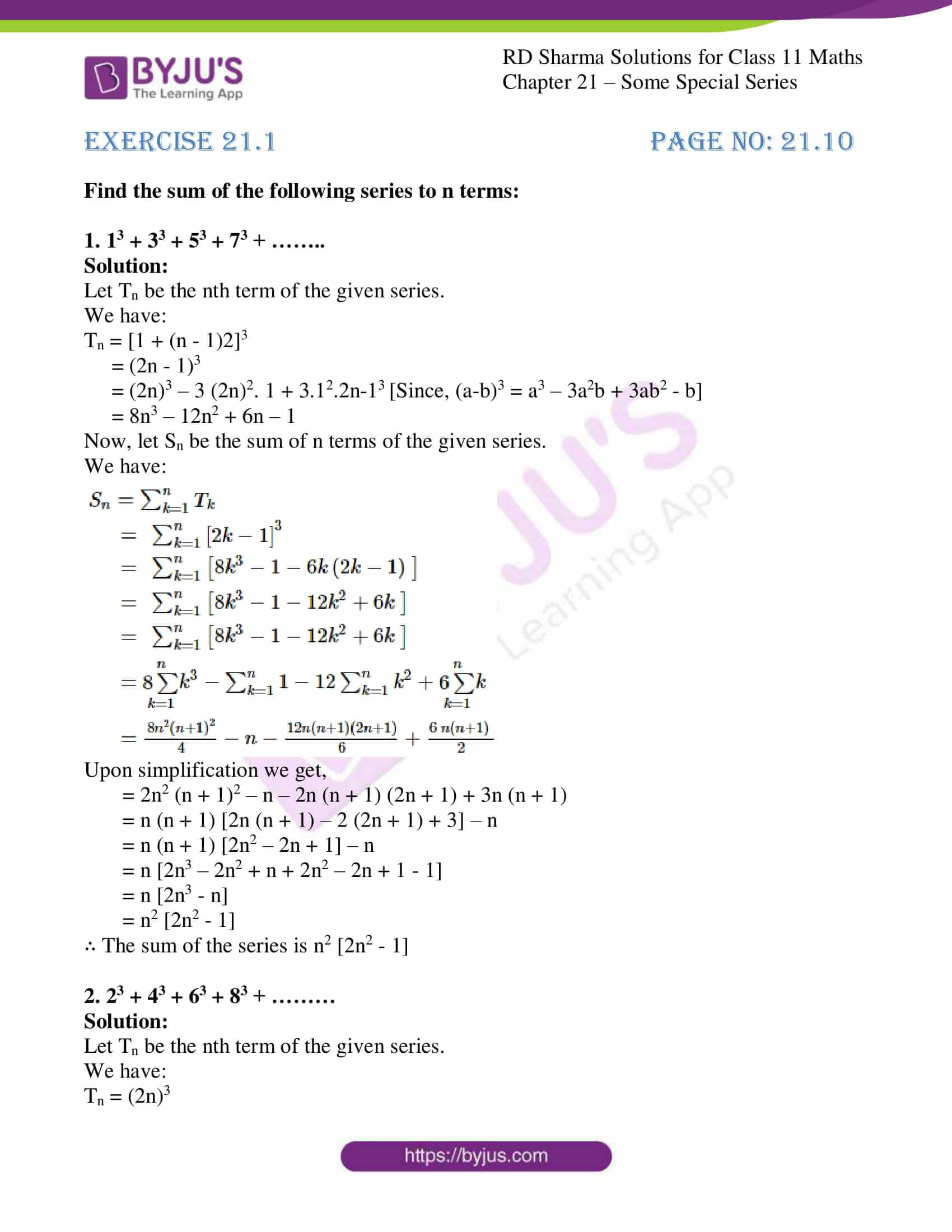 rd sharma class 11 maths ch 21 some special series ex 1 1