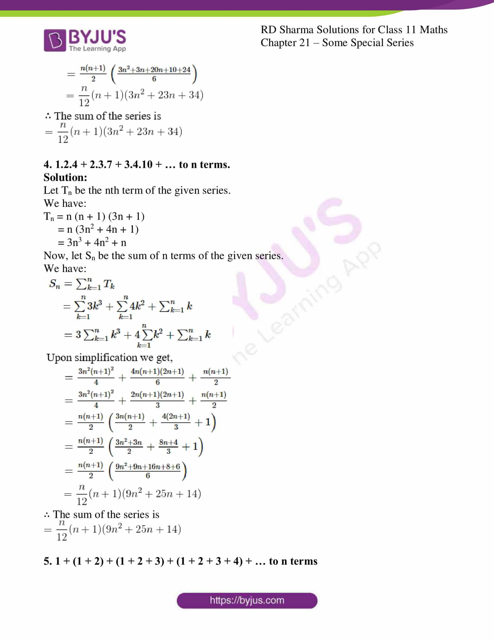 rd sharma class 11 maths ch 21 some special series ex 1 3