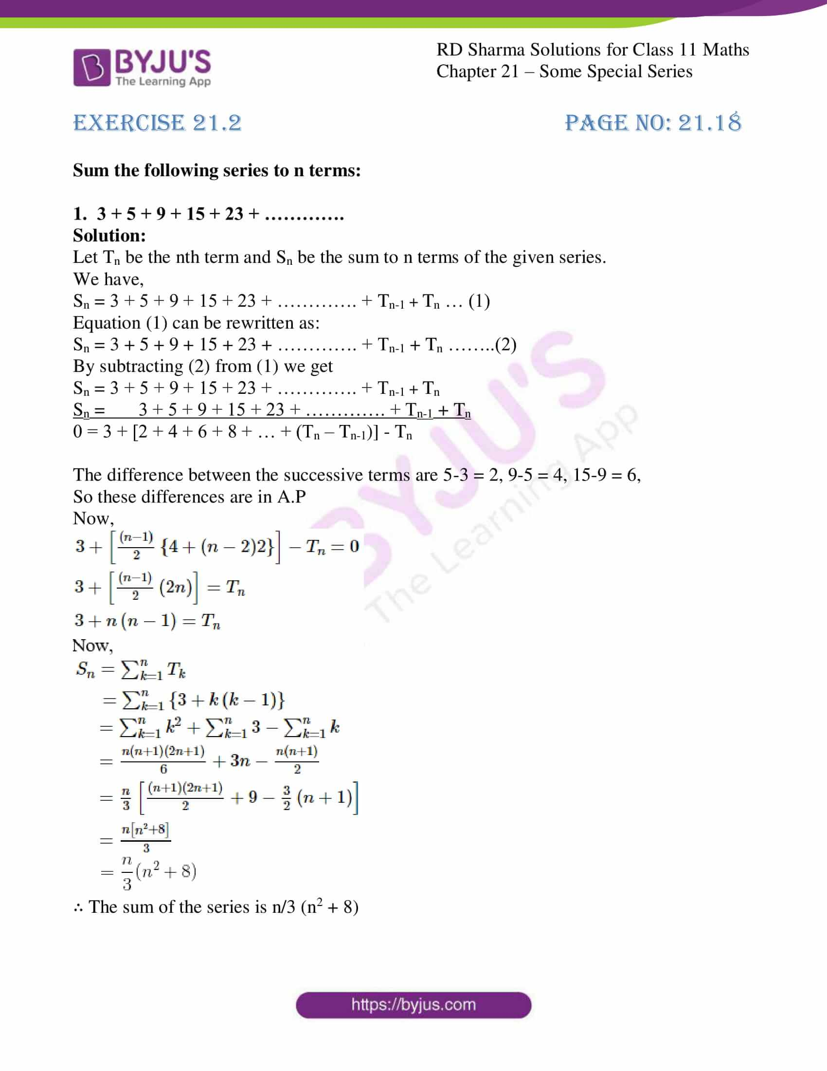 rd sharma class 11 maths ch 21 some special series ex 2 1