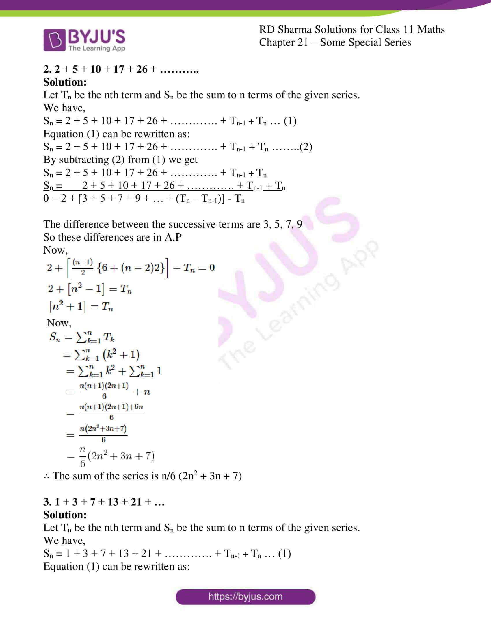 rd sharma class 11 maths ch 21 some special series ex 2 2
