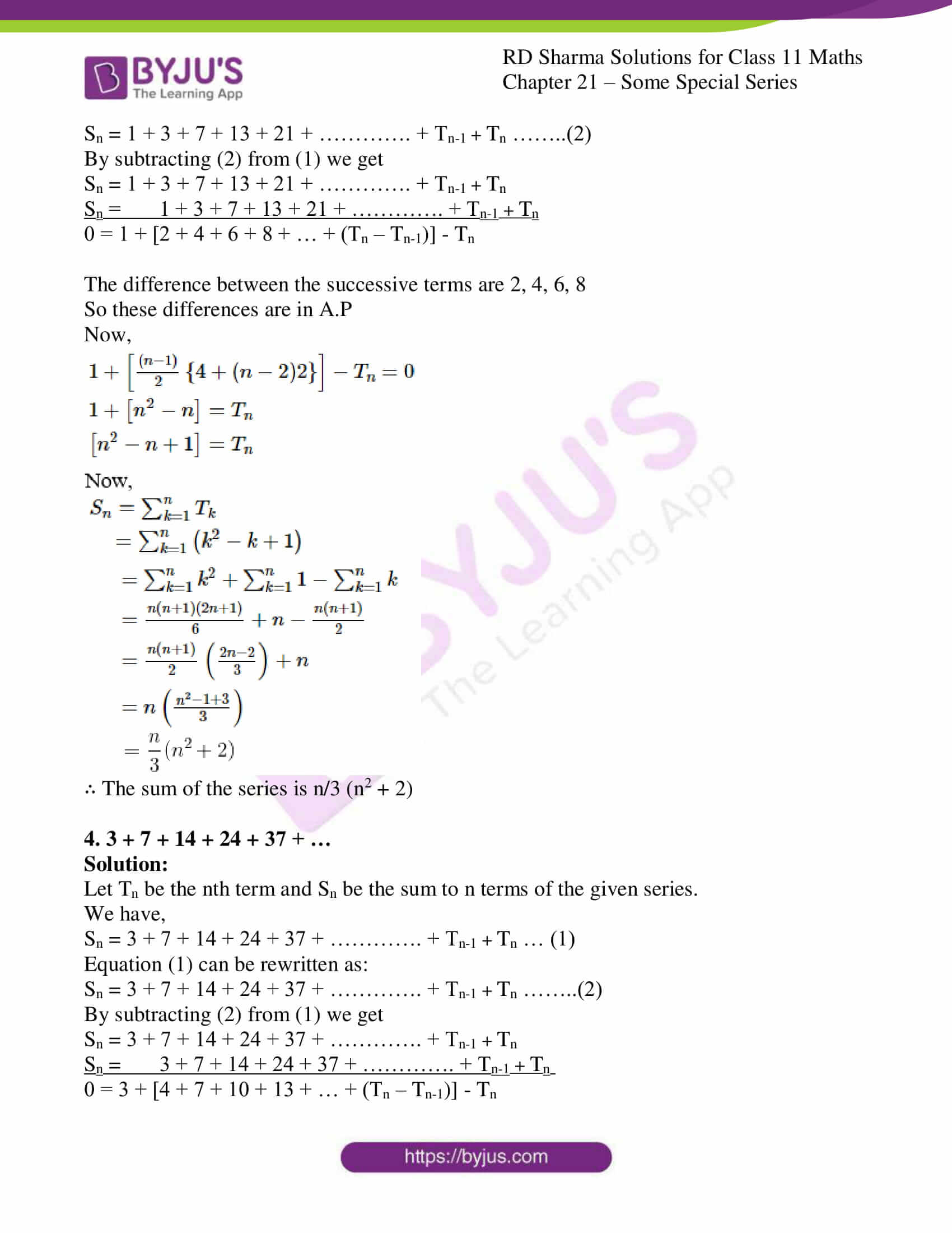 rd sharma class 11 maths ch 21 some special series ex 2 3