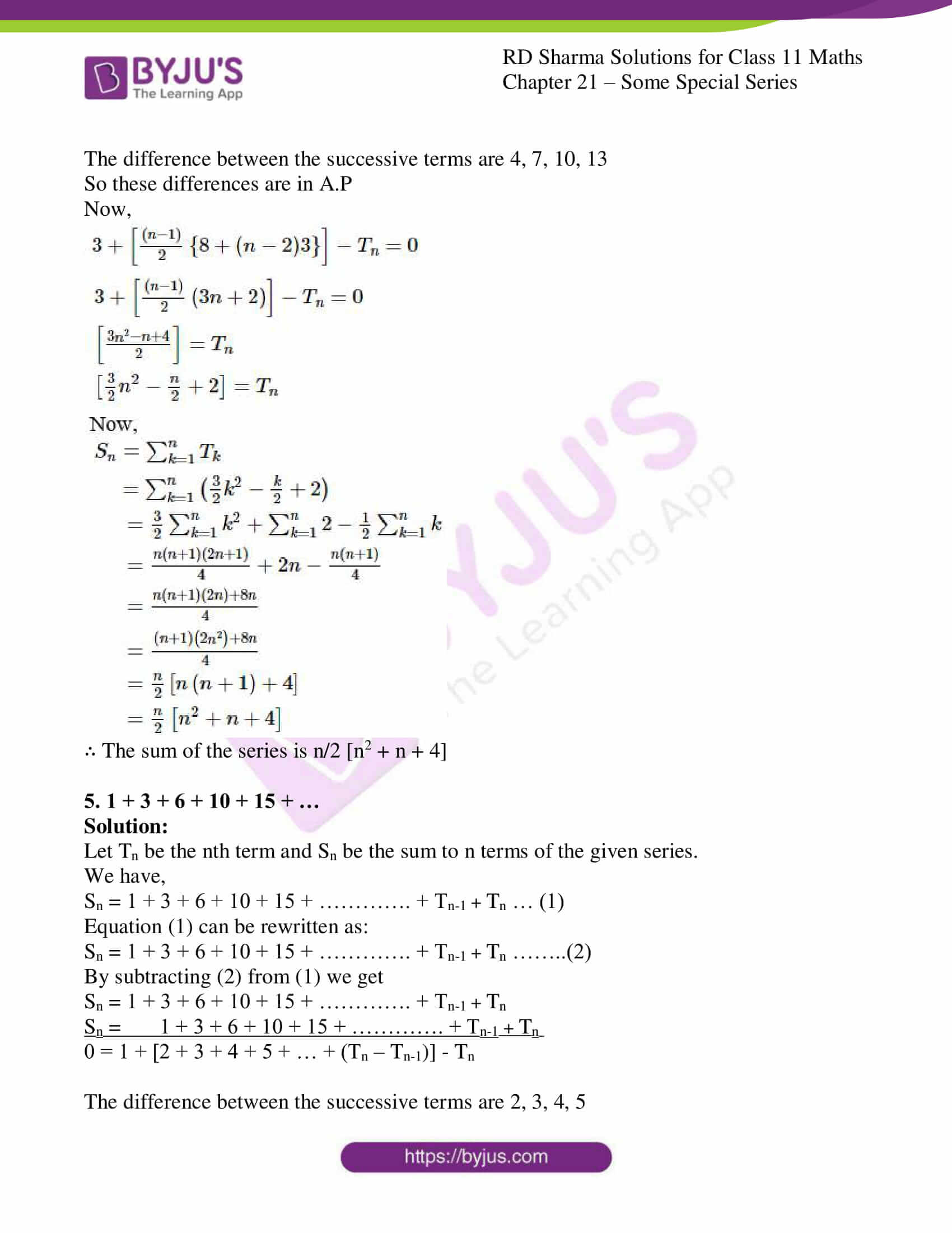 rd sharma class 11 maths ch 21 some special series ex 2 4