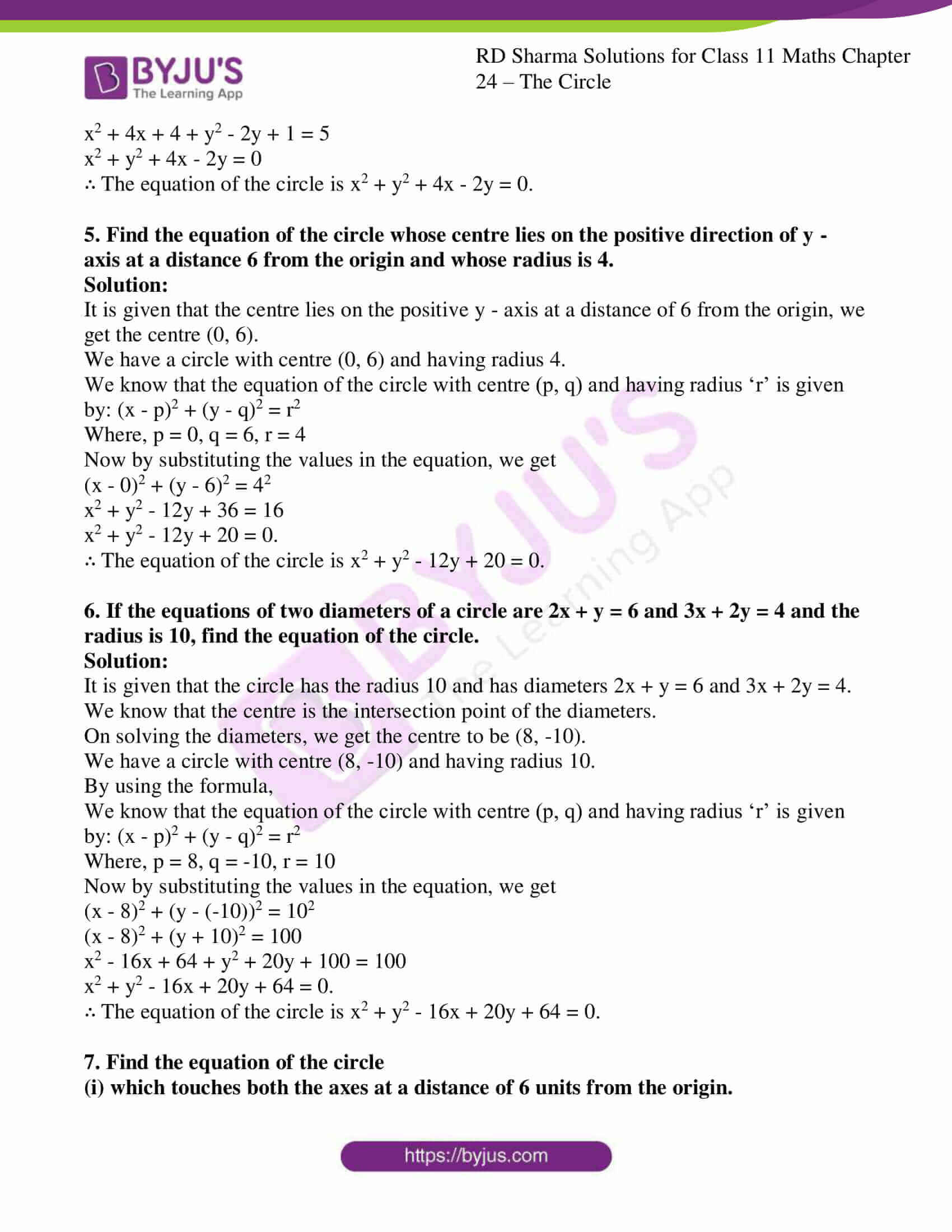 rd sharma class 11 maths ch 24 the circle ex 1 06