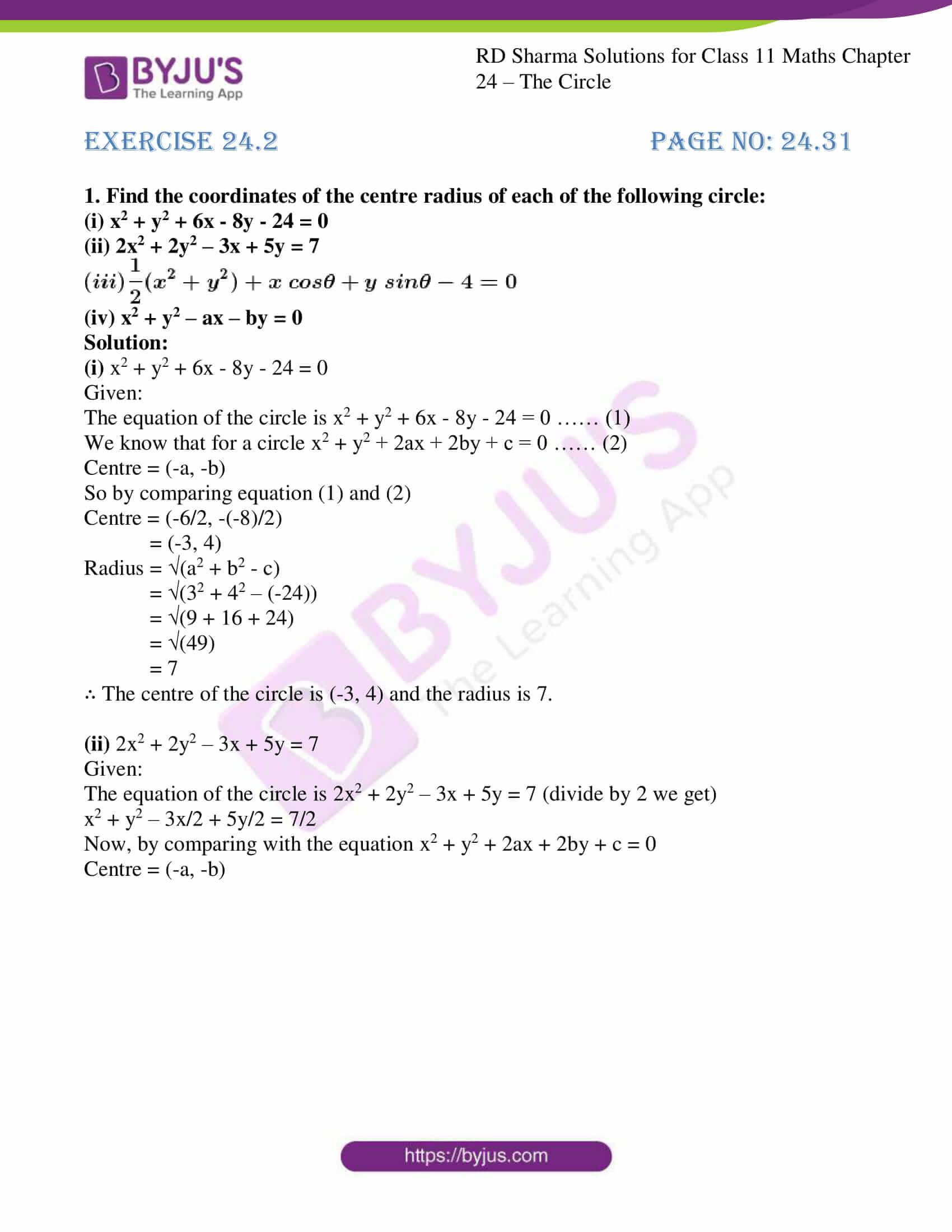 rd sharma class 11 maths ch 24 the circle ex 2 01