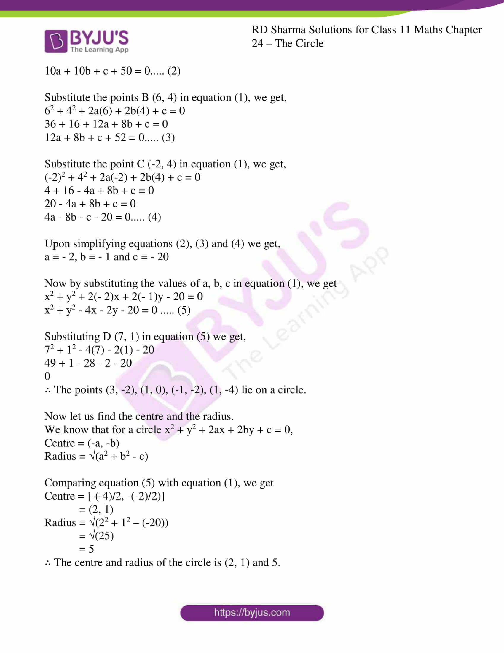 rd sharma class 11 maths ch 24 the circle ex 2 09