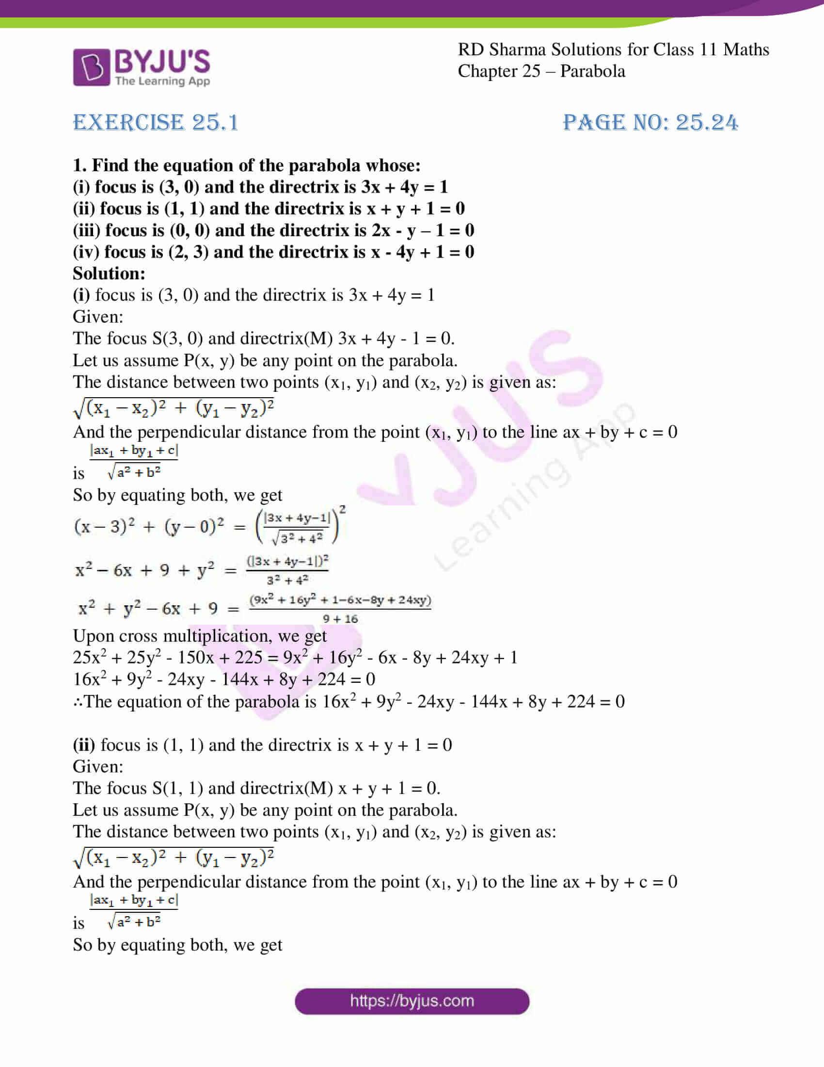 rd sharma class 11 maths ch 25 parabola 01