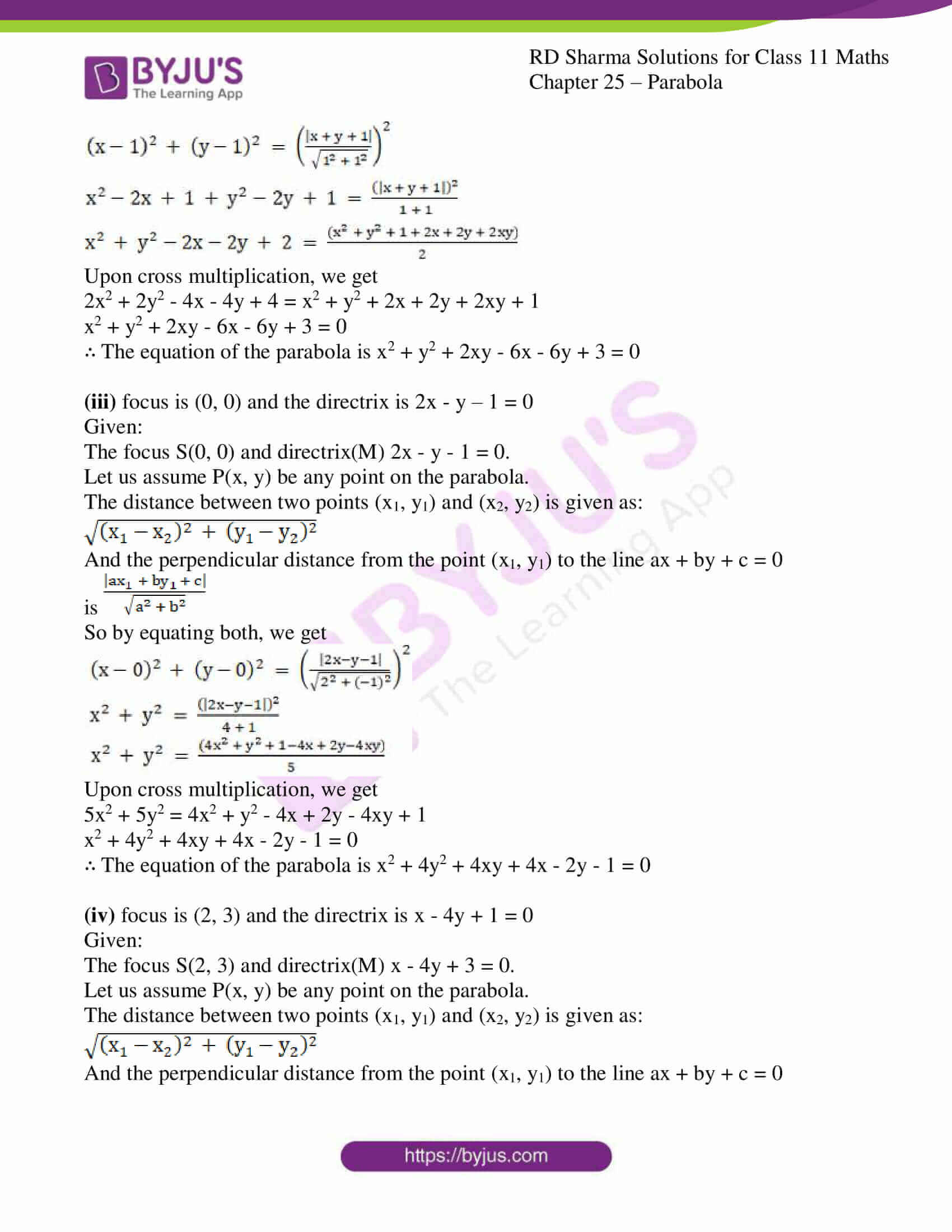 rd sharma class 11 maths ch 25 parabola 02