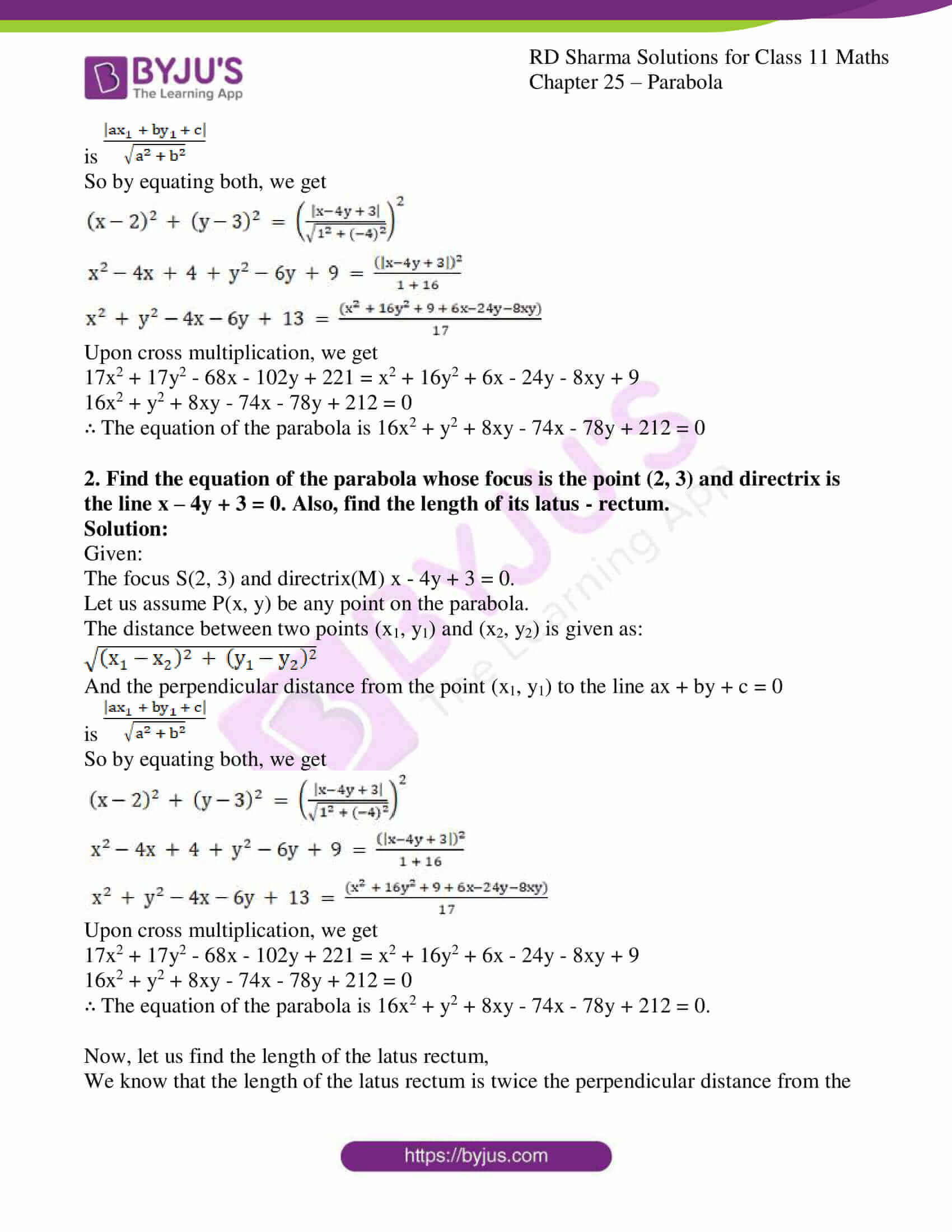 rd sharma class 11 maths ch 25 parabola 03