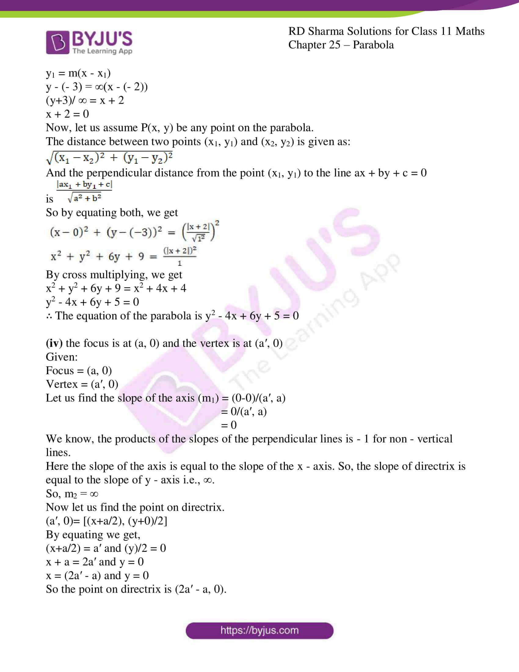 rd sharma class 11 maths ch 25 parabola 07