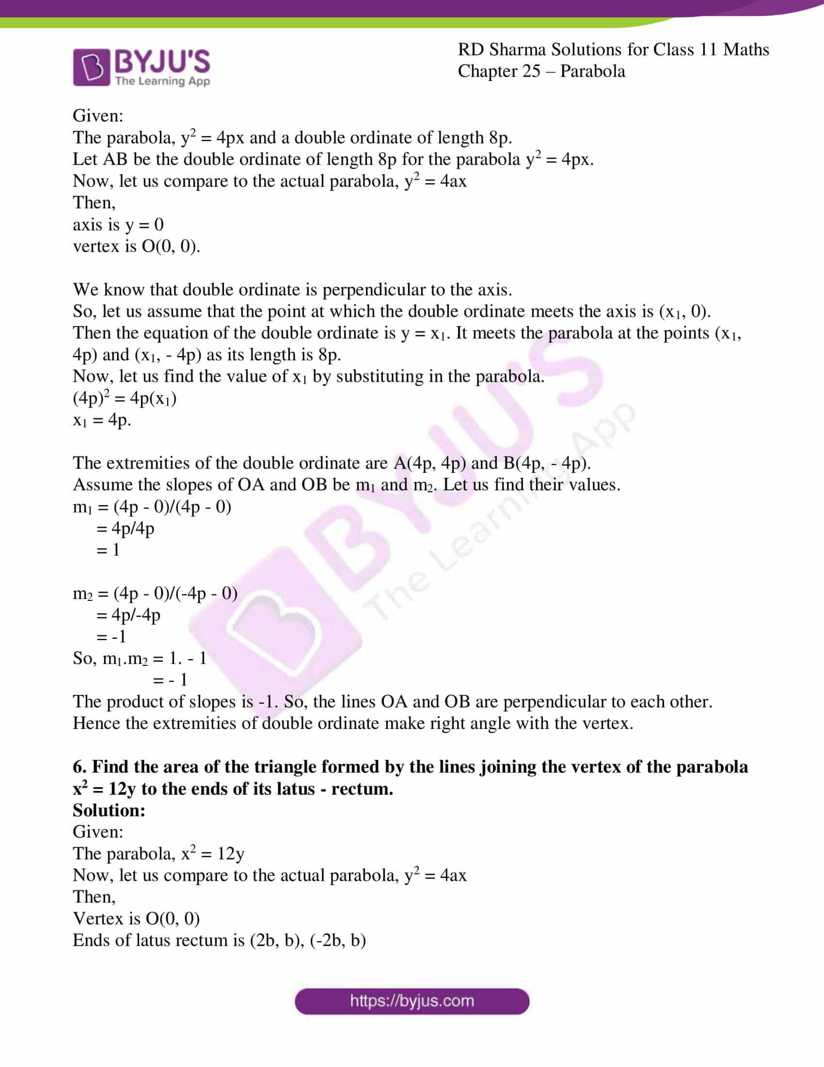 rd sharma class 11 maths ch 25 parabola 12