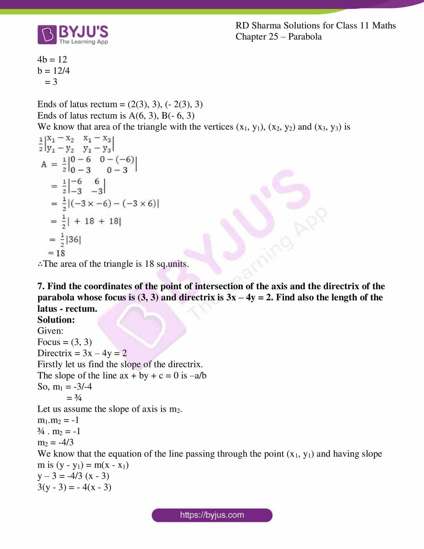 rd sharma class 11 maths ch 25 parabola 13