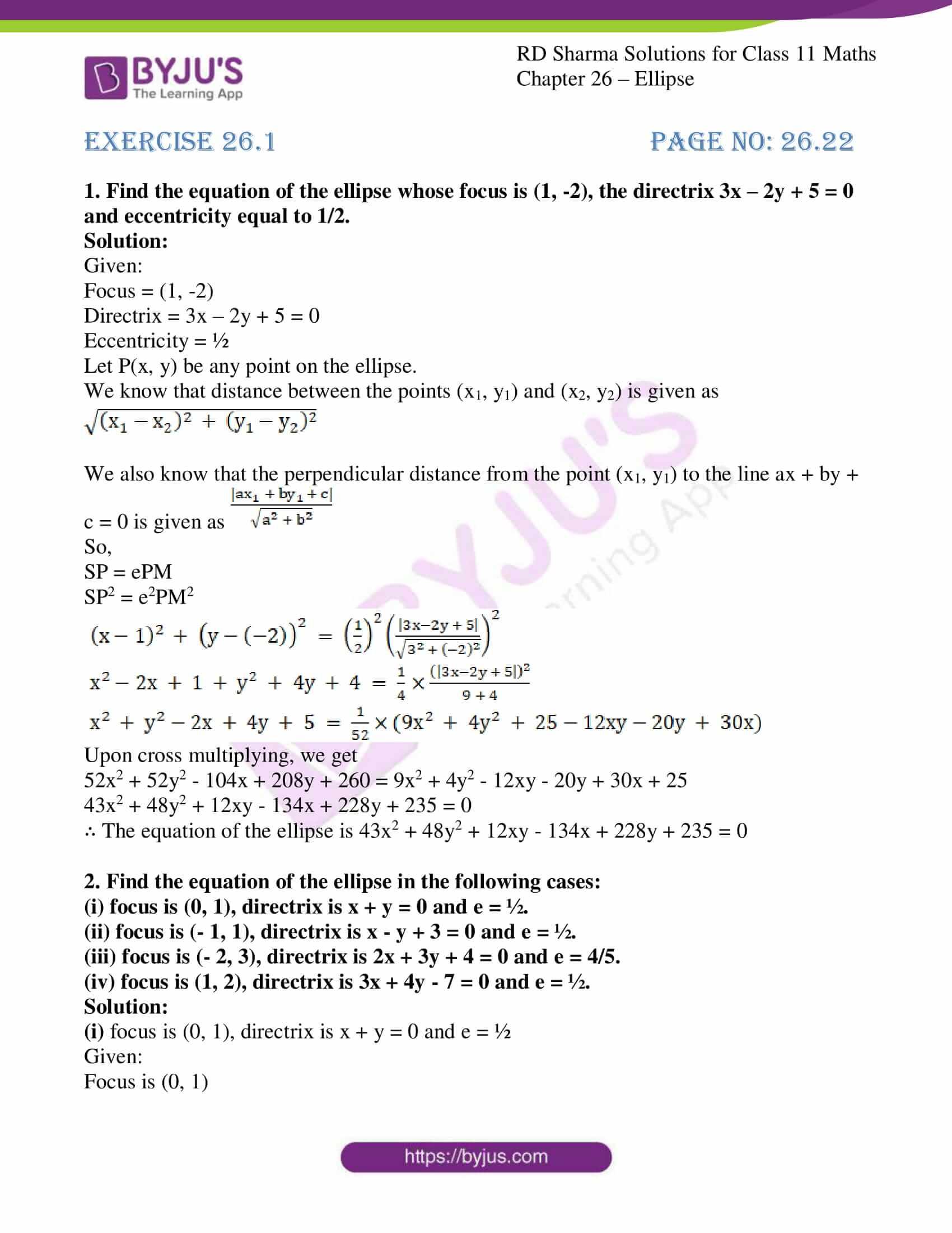 rd sharma class 11 maths ch 26 ellipse 01