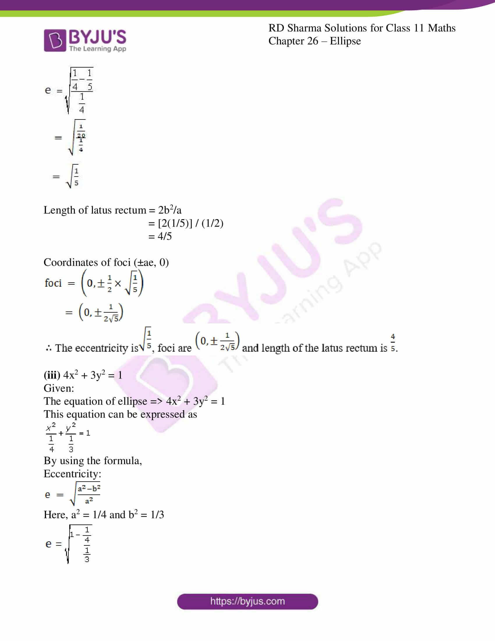 rd sharma class 11 maths ch 26 ellipse 06