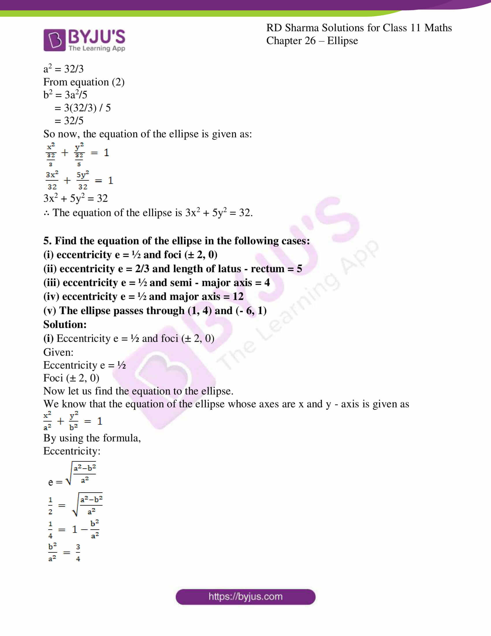 rd sharma class 11 maths ch 26 ellipse 10